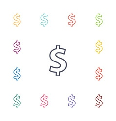dollar flat icons set vector image