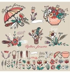 Doodle floral grouphand sketched element decor vector image