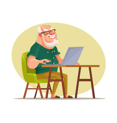 Elderly man character chatting on network vector