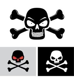 evil skull with bones vector image
