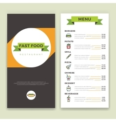 Fast food restaurant and cafe menu template vector