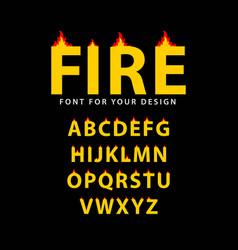 Fire font set template design vector