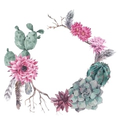 Floral wreath with branches and succulent vector
