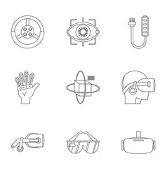 futuristic reality icons set outline style vector image