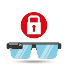 Glasses technology padlock application media vector