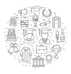Graduation Time Concept Shape Icons vector image