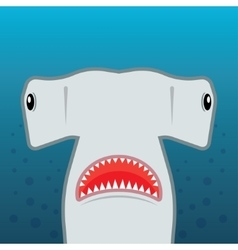 Hammerhead shark with open mouth vector