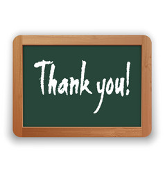 hand drawn thank you on a green blackboard vector image