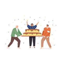 happy people celebrating birthday holding vector image