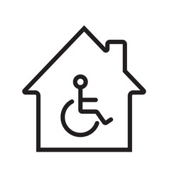 House with special facilities linear icon vector