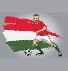 Hungary soccer player with flag as a background vector