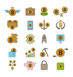 icon set of crypto business bitcoin and others vector image