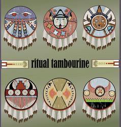 indians ritual tambourines vector image