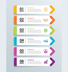 infographics tab in horizontal paper arrow with 6 vector image