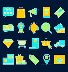 Internet shopping icon set in colored line style vector