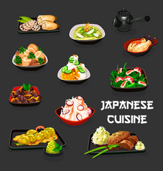 Japanese vegetable dishes with meat and seafood vector