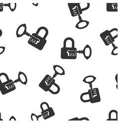 Key with padlock icon seamless pattern background vector