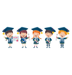 kids in graduation costume vector image