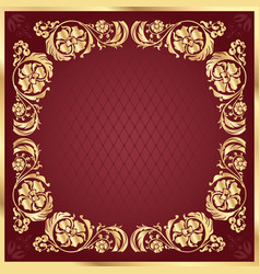 Luxury gold pattern frame on claret background vector