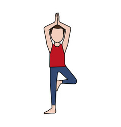 man doing yoga yogi icon image vector image