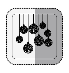 monochrome square with middle shadow sticker with vector image