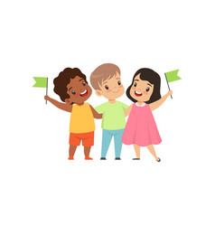 Multicultural little kids standing with flags vector