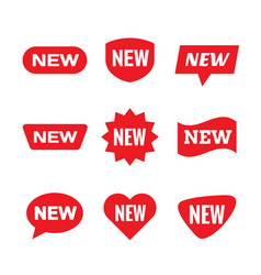 new tag sign - concept stiker label set red vector image