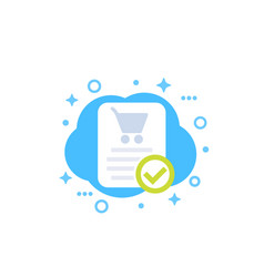 Online order purchase completed icon vector