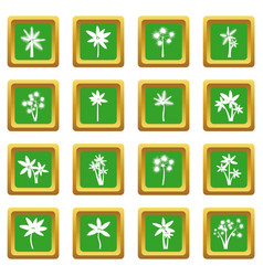 palm tree icons set green vector image