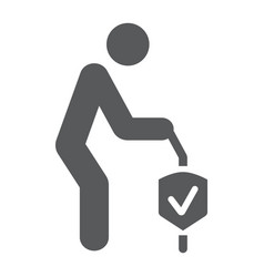 Pension insurance glyph icon human and protection vector