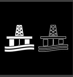 petroleum platform icon set white color flat vector image