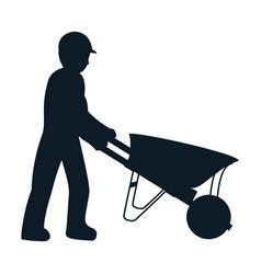 Pictograph laborer with wheelbarrow equipment vector