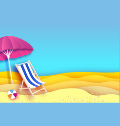 Pink parasol - umbrella in paper cut style blue vector