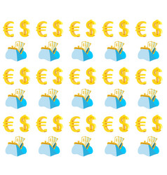 purse with cash and monetary note seamless pattern vector image