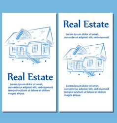 real estate posters in hand drawn style vector image