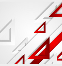Red and grey tech triangles abstract background vector