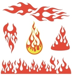 Red flame elements vector image