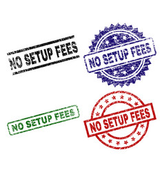 Scratched textured no setup fees stamp seals vector