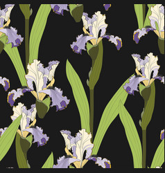 seamless floral ris flowers pattern vector image