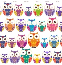 Seamless pattern - bright colorful owls on white vector image