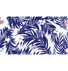 seamless pattern palm leaf and cosmos flower vector image