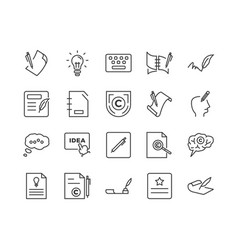 set copyrighting related line icons vector image