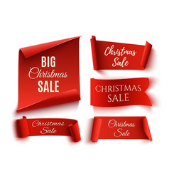 Set of five red christmas sale realistic paper vector