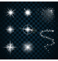 Shine stars with glitters and sparkles icons set 1 vector