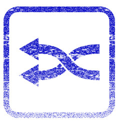 Shuffle arrows left framed textured icon vector