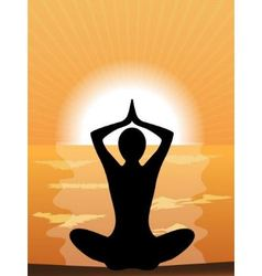 silhouette of a woman doing yoga vector image