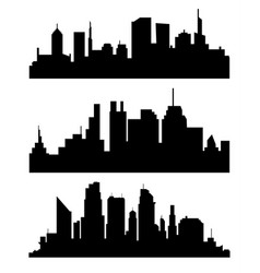 silhouette of city with black color on white vector image