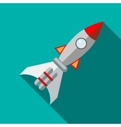 Space rocket icon in flat style vector image