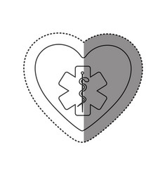 Sticker of monochrome silhouette of heart with vector