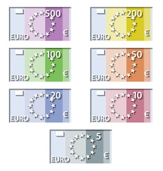 Stylized euro paper bill banknotes vector